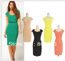 Free shipping 005-38 Celeb Style Women Lady Hit Colour Bodycon Fitted Party Pencil Shift Sheath Dress