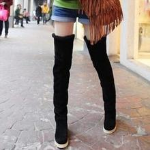NAUSK HOT Sale Faux Suede Autumn and Winter Snow Boots Over the Knee Flat With Thigh High Boots Slimming Cotton Boots Size 35-40