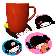 1Pcs Cute Girl Silicone Rubber Drink Coaster Cup Mat Mug Glass Plate Pad