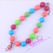 Cordial Design Kids Jewelry Handmade Coral/Hot Pink/Blue/Green Rhinestone Alloy Cute Character Pendant Necklace KQNL-601677