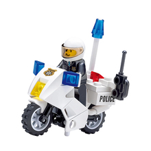 GUDI City Police Motorcycle Patrol mini DIY dolls Building Blocks Sets Bricks Model Kids Toys Compatible Legoing