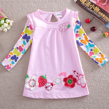 Girls dress girls clothes embroidery flower princess dress nova kids clothing cotton trolls kids dresses for girls wedding F2275