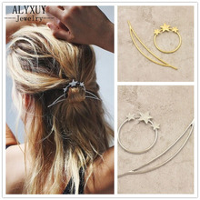 New fashion hairwear gold color star moon hairpin hair combs hair sticks gift for women girl H362