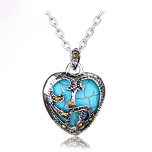 New Statement Necklace 2 Color Silver plated Marcasite Blue Turquoise Heart Pendant Necklace Metal Chain Necklaces