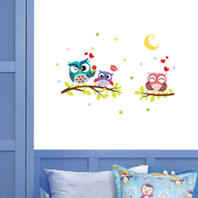 Night Owl on the Tree Wall Sticker Creative DIY Cartoon Vinyl Moon Decorative Stickers Muraux Paper Decoration for Kids Room