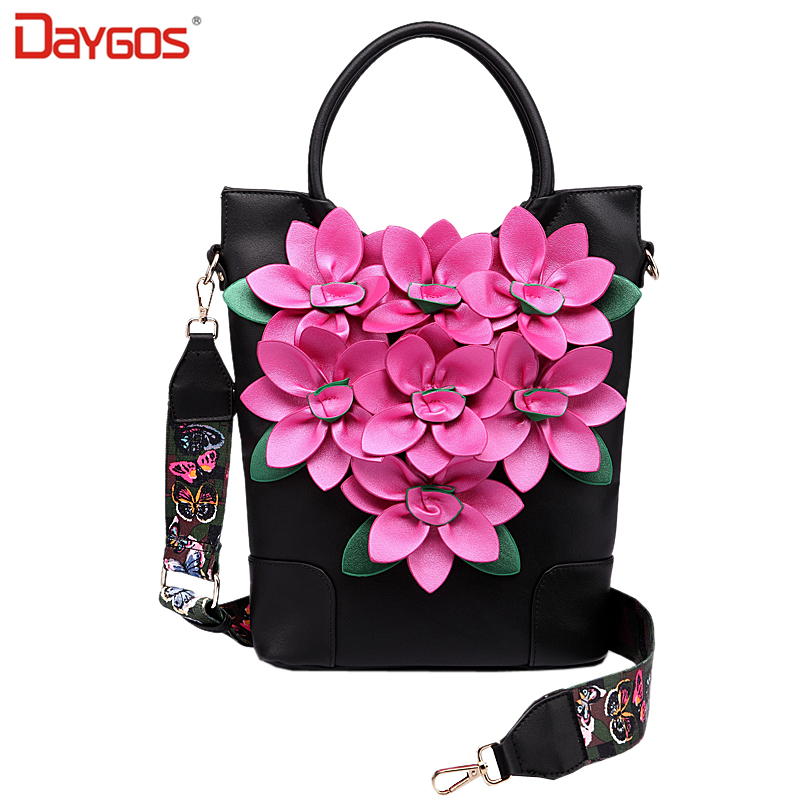 2017 Spring Big Flowers Pu Leather Women Shoulder Bags High Quality Female Tote Handbags Embroidery Ladies Crossbody Bags<br><br>Aliexpress