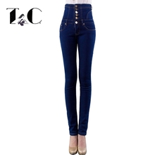 TC Plus Size Skinny Jeans 2017 New Womens Fashion Blue High Waist Single-Breasted Button Pockets Jeans Denim Pencil Jeans FT0695