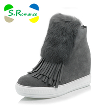 S.Romance Women Ankle Boots Plus Size 32-45 Zip High Heel Winter Snow Boots Woman Pumps New Fashion Shoes Black White SB1163(China)