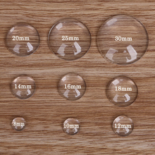 8/10/12/14/16/18/20/25/30mm Transparent Clear Round Flat Back Clear Glass Cabochon for Necklaces Earrings Jewelry Making