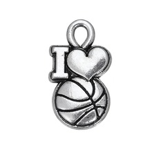 My shape 30pcs word i love basketball sports love charm well selling(China)