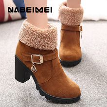 Ladies shoes sweet winter boots women metal decoration solid plush PU fur round toe female boot work solid wedge boots