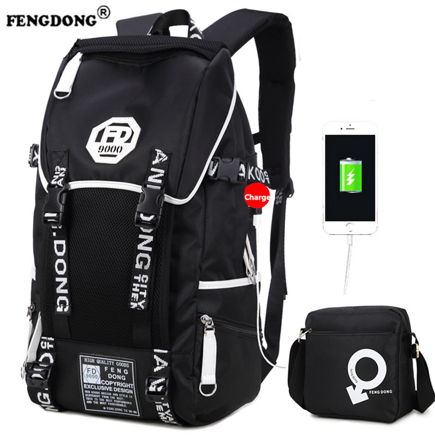 FENGDONG Men Laptop Backpack Male Brand Waterproof Cool Designer Backbag School Bags for Teenagers USB Charge Travel Backpack<br>
