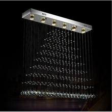 Luxurious silver Square k9 crystal chandeliers LED crystal lamp modern LED Square restaurant chandeliers