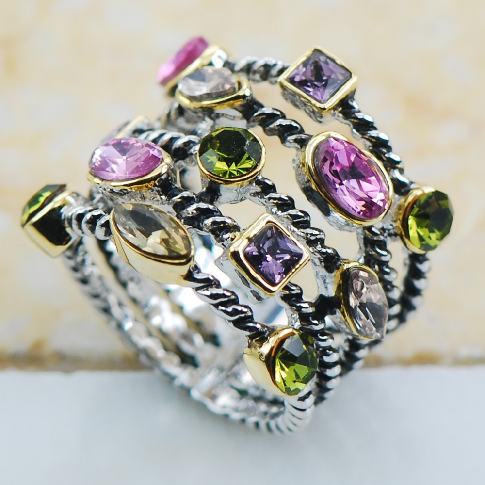 Peridot Pink Crystal Zircon Purple Crystal Zircon Morganite 925 Sterling Silver Jewelry wedding Ring Size 6 7 8 9 10 F1132(China (Mainland))