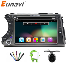 "Eunavi 7"" 2 din Android 6.0 car dvd gps quad core stereo for ssangyong Kyron Actyon 4G Wifi BT support dvr OBD2 1024x600,russian(China)"