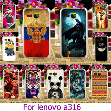 AKABEILA Hard Plastic Phone Case For Lenovo A316 4.0 inch A316I 316 ainted Case Cat Cover Housing Back Skin Cover(China)
