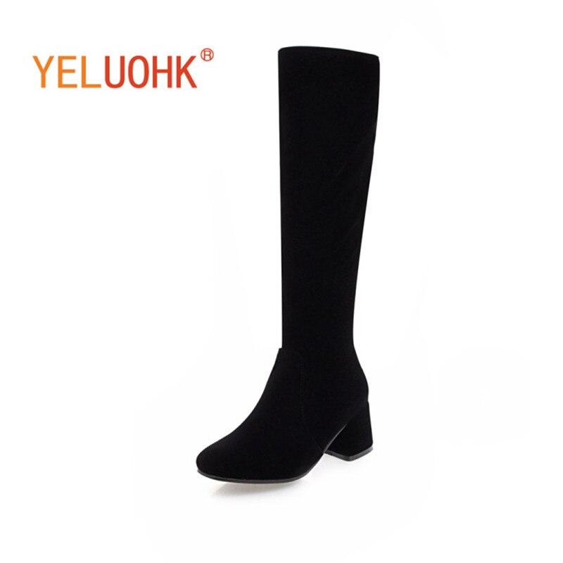 34-43 Women High Boots High Heel Women Winter Boots Plush Warm Women Boots Winter Shoes Big Size<br>