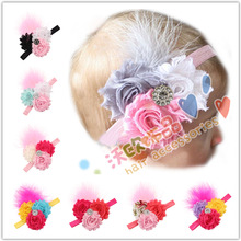 16Clr children accessories Infant newborn Baby girl accessories Sun Flowers Feather Toddler Head bands Headress kids HairBand(China)