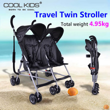 Hot sell twins stroller Folding Travel Stroller Baby Car For Two Babies Trolley China Push chair Portable to use(China)