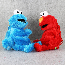 48cm Western Cartoon Sesame Street Plush Bag Red Elmo Blue Cookie Guy Plush Backpack for Boys and Girls(China)