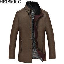 HEISMR.C 2017 New Arrival Men's Woolen Jacket Mens Cold Winter Coat Men Stand Collar Brand Casual Cashmere Coat Jacket HJK90(China)