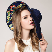 Women's Hats Wide Brim Beach Hat Flower Printed Foldable UV Protection Outdoor Summer Ladies Fashion Design Sun Hats(China)