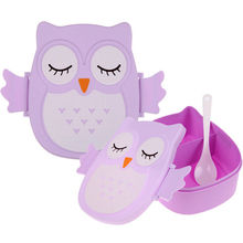 Food Container Owl Portable Food-safe Plastic Lunch Box Cute Cartoon Dinner Fruit Storage Picnic Container with Spoon