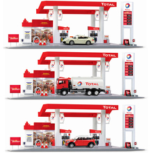1:64 scale France total gas station model Fuel tank truck mini coopers super sport metal diecast cars pull back toys with light(China)