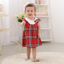 Easter Gift Summer Cotton Stripped Knee-Length Dresses Plaid Bow Baby Girl Dress Kawaii Home Wear Baby Clothing For Little Girl
