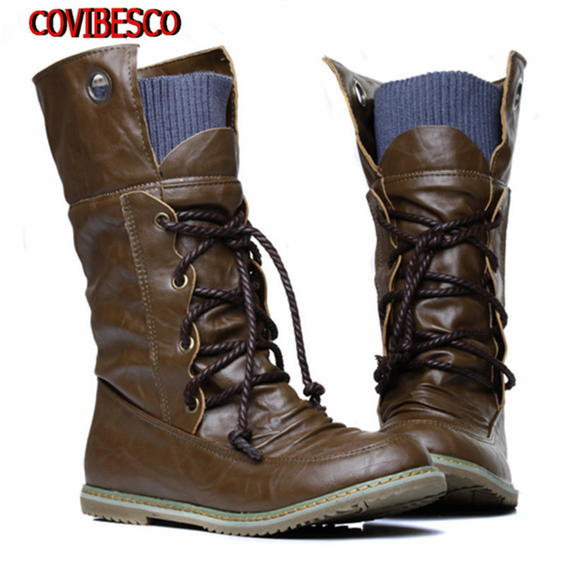 New Plus Size Vintage motorcycle martin ankle boots for women winter autumn snow boots leather flats motorcycle boots shoeswoman<br><br>Aliexpress