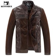 Kenntrice New Arrived Patchwork Brand Leather Jacket Men Sheepskin Coats Pilot Leather Jacket Winter Coats Men Suede Plus Size