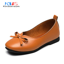 Kindstraum New Brand Kids Casual Leather Shoes for Girls Princess Soft Wear Bowknot School Children Fashion Dance Shoes, MJ053(China)