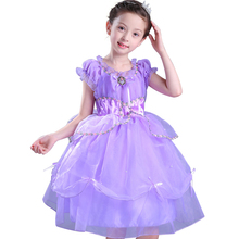 News princess sofia dress Girl Short Ball Gown formal Dress Costume Girls Kids Birthday Party Fancy Purple Tutu Clothing(China)
