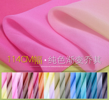 100% pure mulberry Soft Satin Pure Georgette gradient 114cm Silk Fabric Dressmaking materials DIY Dress Clothes Silk 5 Yard H389