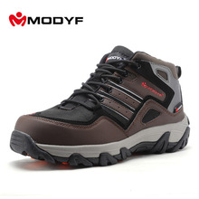 Modyf men winter warm fur steel toe work safety shoes casual reflective outdoor boots puncture proof footwear(China)