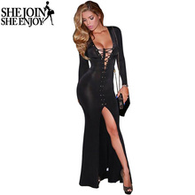 ShejoinSheenjoy 2016 Women Sexy Deep V-Neck Lace Up Front Slit Long Dress Evening Party Wear Long Sleeve Maxi Dress Vestidos(China)