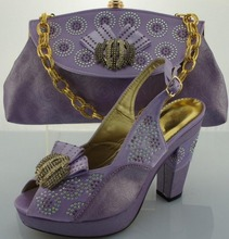 Free Shipping by DHL Popular designer shoes and matching bag Set with stones wedding shoes woman, ME0067 lilac