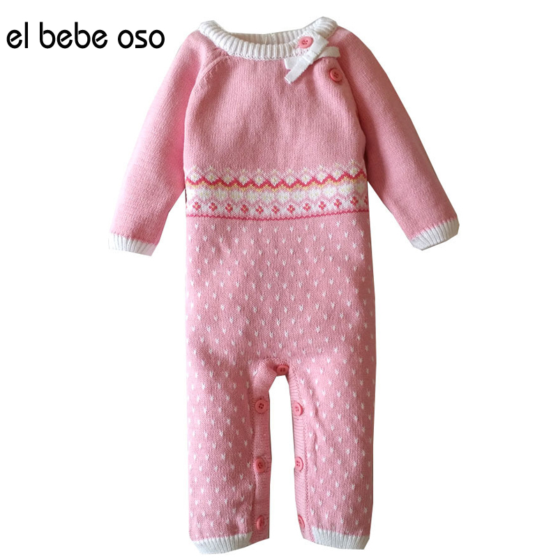 el bebe oso Newborn Baby Girl Clothes Long Sleeve Cotton Printed Polka Dot Jumpsuit Baby Romper O-Neck Knitting Baby Wear XL38<br><br>Aliexpress