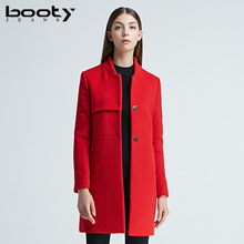 Bootyjeans High End Autumn Winter 2017 Women's Coat European Style Mandarin Collar Slim Long Design Wool Coats Red Black Tops(China)