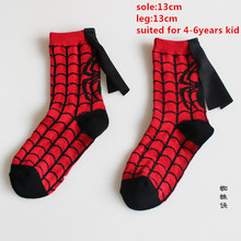 Boys Girls Spiderman Cosplay Costume Socks Kids Party Cosplay Cotton Socks Football Basketball Sports Socks 4-6Years Red(China)