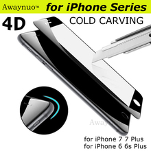 Awaynuo 4D Tempered Glass film for iPhone 7 6 plus case 9H Cold curving 4D Full Cover Tempered Glass Screen Protector Glass Film
