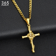 New Arrival Women Stainless Steel Cross Chain Necklace Fashion Rose Crucifix Pendants Necklaces Christams Gift(China)