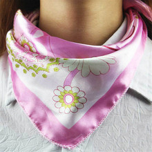 50cm*50cm Casual Female Silk Small Square Wrap Flower Floral Printed Women Four Seasons Plain Colour Silk Satin Scarves