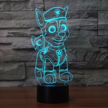 Colorful Russian Cartoon Pat Canine Puppy Dog Night Lamp Night Light Kids Gifts Pet Canina Luminaria For kids(China)