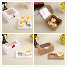 2 and 4 Cavity Clear Window Creative Kraft Brown & White Cupcake Boxes Muffin Packaging Box  10pcs a lot  Include the holders