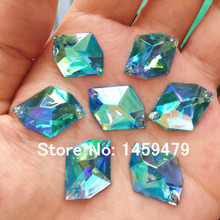16x21mm Rhombus 100pcs Sew on Loose Beads Crystals Light Blue AB colour Rhinestones Accessories For Hand Sewing Strass Diamond