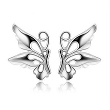 JEXXI One Pair Promotion Nice 925 Sterling Silver Cute Butterfly Stud Earring With Back Stopper Woman Girl Jewelry(China)