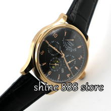 42mm parnis black dial golden case Multifunction Sapphire Glass 26 jewels miyota 9100 Automatic mens Watch(China)