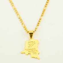The Democratic Republic of the Congo Small Map Gold Color DRC Pendant Necklace Chain Jewelry For Women Girl(China)