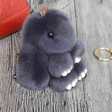 Cute Fluffy Rabbit Keychain Rex Genuine Bunny Fur Pompoms Key Chain Fur Pom Pom Keychain Bag Charm Car Pendant Key Ring Holder